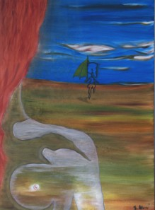 Il viandante con il mezzo ombrello giallo si allonta dalla sua visione -olio su tela- 100x70